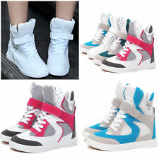 Womens High Top Hide Wedge Breathable Mesh Skateboard Boots Shoes Sneaker