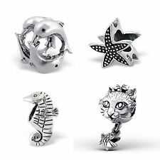925 Sterling Silver Solid Charm Beads European Bracelets - Animals - Sea