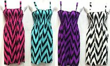 Chevron Print Sundress Zig Zag Summer Dress Stretchy Silky Smocked Beach Dress