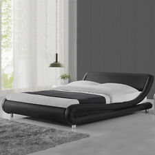 Italian Designer Curved Bed Frame Single/Double/King Size Faux Leather New Cheap
