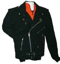 Men's Black Denim Motorcycle Jacket From Allstate Leather