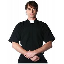 Short Sleeve Priest Shirt Adult Mens Father Religious Black Halloween Costume
