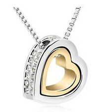 Necklace Mexican Style Sliver-Gold Double Heart Pendant Necklace Heart Necklace
