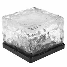 White LED Solar Powered Ice Glass Cube Brick Light Outdoor Garden Pathway Patio