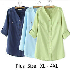 Women Blouse Shirt Long Sleeve Cotton and Linen Shirts Tops Plus Size Clothing