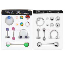 Lot 5pc 14G 16G Barbell Navel Belly Lip Nose Horseshoe Eyebrow Captive Ring Bars