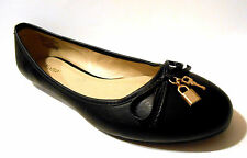 """Wanted Ballet Flats """"Ivy"""" Black Classic Style w Lock and Key Charms New w Box"""