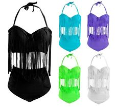 Ladies Plus Size Vintage Retro High Waist Bikini Fringe Tassel Swimsuit 16 18 20