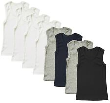 4-Pack Undershirt Boys Toddler Baby Cotton Tank Top Solid Plain Blank Ribbed Lot