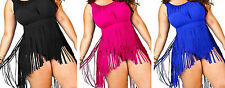 Plus Size Fringe Tassel Swimsuit Skirt Padded Bikini Swimwear 14 16 18 20 22 New