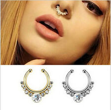Fake Piercing Body Hoop Clip On Septum Clicker Hanger Nose Ring Stainless Steel
