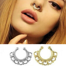 1Pc Fake Gem Septum Ring Non-Piercing Nose Ring Hanger Clip On Jewelry Body