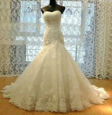 Stock White/Ivory Lace Mermaid Wedding Dress Bridal Gown 4 6 8 10 12 14 16 16w