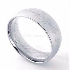Men Lord of the Rings Titanium The One Ring Bilbo's Hobbit Silver Ring SZ 6-13