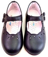 DE OSU - Toddler Girls Black Leather Dress Shoes - European Mary Janes A-1284