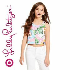 Lilly Pulitzer Target  Girls' Tank Top Noisy Posey Pink Floral S M 6 6x 7 8