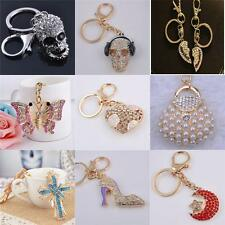 Rhinestone Crystal Keyring Charm Pendant Purse Bag Key Ring Chain Keychain Gift