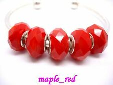 NEW Fashion Red Jade Crystal Faceted Beads fit European Charm Bracelet