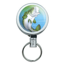 Metal Retractable Reel ID Badge Key Card Holder with Belt Clip Hunting Fishing