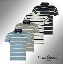 New Mens Branded Pierre Cardin Rugby Striped Polo Shirt Cotton Top Size S-XXL
