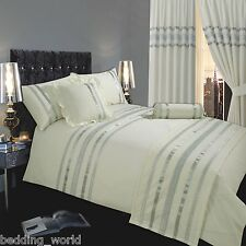CREAM OFF WHITE SILVER RIBBON 200 THREAD COUNT COTTON LUXURY BEDDING OR CURTAINS