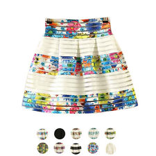 Fashion Women Skirt High Waisted Tutu Skirts Zipper Pleated Midi Elastic Skirts