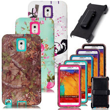 High Impact Rugged Matte Printed Combo Armor Case For Samsung Galaxy Note 3 & 4