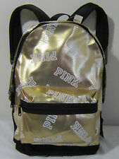 BLING Victoria Secret Pink Campus FASHION SHOW Gold @ CARRY ON BOOK BAG BACKPACK