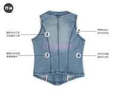 Womens Girl Sleeveless Frayed Cardigan Denim Vest Jean Waistcoat Jacket CN S-2XL