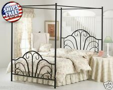 4 Four Poster Metal Canopy Bed Frame Bedroom Furniture Full Queen King Size Post