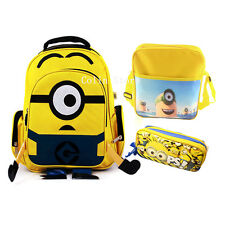 "16"" Despicable Me Minion Backpack Boys Back to School Bag Lunch Bag  Kids Holder"
