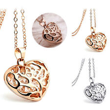 Women Gold Silver Crystal Rhinestones Heart Pendant Jewelry Necklace Neck Chain