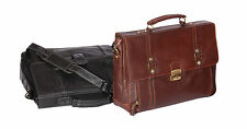 Italian Business Real Leather Briefcase Large Shoulder Bag Mens CRUZ Black Brown