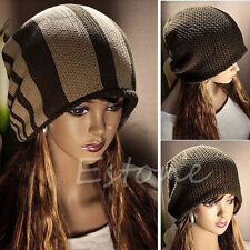 Women Knitted Stripe Baggy Beanie Winter Ski Unisex Beret Slouchy Skull Hat Cap