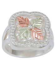 12K ROSE & GREEN BLACK HILLS GOLD ON .925 STERLING SILVER WOMENS LADIES RING