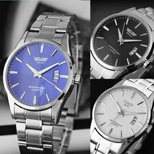 Mens Fashion Sport Date Elegant Silver Stainless Steel Analog Quartz Wrist Watch