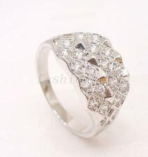 White Gold Plated CZ Cubic Zirconia Luxury Club Wedding Wide Ring Size V W