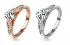 18K Rose Gold Plated Ring Classic  Austrian Crystal Wedding Anniversary Ring