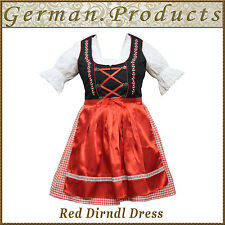 German Bavarian Oktoberfest Trachten 3 Pcs Red Dirndl Dress ,US Sizes : 4 To 18