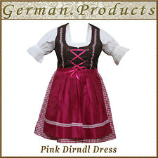 German Bavarian Oktoberfest Trachten 3 Pcs Pink Dirndl Dress ,US Sizes :4 To 18