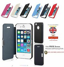MAGNETIC LEATHER FLIP CASE COVER FOR APPLE IPHONE 4 4S 5 5S 5C + SCREEN GUARD