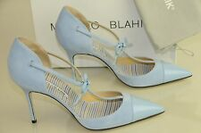 $865 New Manolo Blahnik PARIGATAMA Blue Suede Leather Bow Ankle Strap Shoes 40