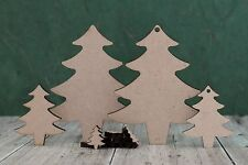 Mdf wooden Christmas tree shapes mdf blanks for Christmas decoration crafts -3mm