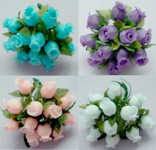 POLY ROSE BUDS 144 PC LOT (12 Bunches) with LEAVES on Wire