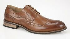 TAN BROWN LEATHER lined BROGUES SHOES GIBSON oxford lace up mens smart