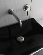 Solid S/S Mixer Tap basin bathtub slim square wall mounted spout faucet