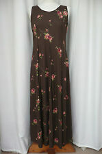 VINTAGE LAURA ASHLEY COTTAGE ROSES ON RUSTIC BROWN BACKGROUND SIZE 12 MAXI DRESS