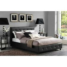 Upholstered Headboard Bed Frame Black Faux Leather Button Tufted Bedroom New!