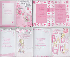 Granddaughter Great-Granddaughter Christening Cards Assorted Designs Available