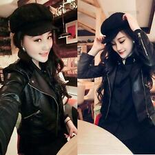 Women Fashion Slim Biker Motorcycle PU Soft Leather Zipper Jacket Coat Outerwear